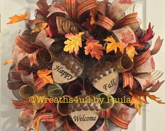 Fall Wreath/ Thanksgiving Wreath/ Mesh Wreath/ Fall Deco Mesh Wreath/ Fall Door Decor/ Front Door Wreath