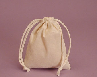 24 pc - 3x4 inch - muslin gift bags - small cotton bags -  gift bags - small muslin pouches - burlap cotton favor bags - drawstring bag