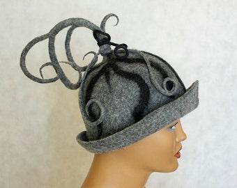 "Grey felt hat Felted hat Felt cap Hat for sauna ( size 22 "" - 23"" /56 cm-  58cm) Felt hat Cap felted"