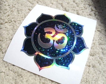 """Om Lotus, Blue Sparkle, Rainbow Silver decal, size 3.5"""""""