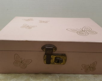 Vintage Pink Butterfly Jewelry Box, 1950s-1960s