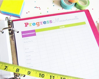 SALE Fitness Progress Chart Printable Planner Page - INSTANT DOWNLOAD - weight loss, measurements, exercise log