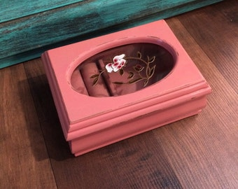 Shabby Chic Pink Vintage Jewelry Box FREE SHIPPING