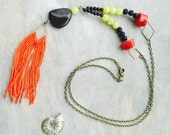Black stone necklace - tassel necklace - boho necklace - gemstone necklace - jade necklace - coral necklace - long necklace