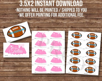 3.5x2 INSTANT DOWNLOAD Touchdowns or tutus vote ballot guess gender reveal party decorations photo booth girl boy pink blue