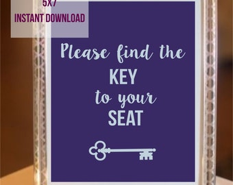 5x7 Please find the key to your seat INSTANT DOWNLOAD PRINTABLE Purple