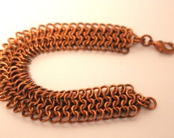 Copper European 4 in 1 Chainmaille Bracelet | Hand Crafted Chainmaille Jewelry | Handmade Bracelet