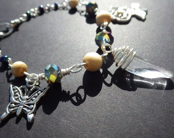 Butterfly Garden Charm Bracelet- Summer Fantasy Jewelry- Crystal Quartz- Aurora Borealis Black Glass Beads- Wood Beads- Unique Gift for Her