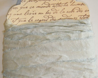 10  Yards Hand Dyed Silk Sari Ribbon .... Aquamarine