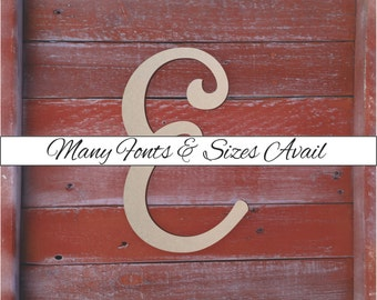 "Large Wooden Letters ""E"" Unfinished, Unpainted, Decorative Font -- Perfect for Crafts, DIY, Nursery, Kids Rooms, Weddings – Sizes 1"" to 42"""