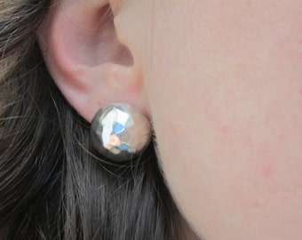 Solid Mexico 925 Sterling Silver Earrings Hammered Textured Handmade Western Native Post Pierced Ears Unique Button Design Mexican Big Cute