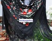 Hand embroidered spanish silk flamenco piano shawl, dance wear, mantones