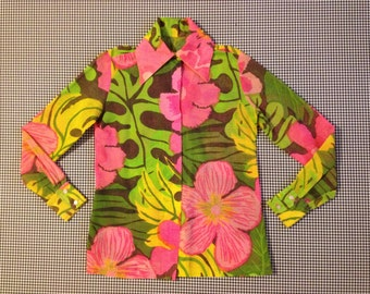 1960's, sheer, floral shirt, in pinks and greens, with butterfly collar, by Calypso, Women's size Small/Medium