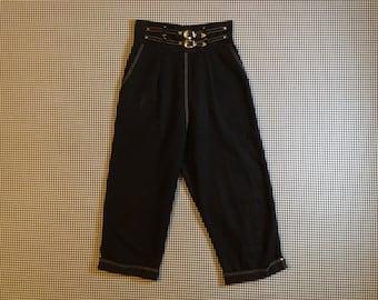 1960's, high waist, double belted, capris, in black, Women's size Medium