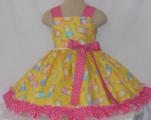New, Easter Basket Dress for girls of all ages, Vibrant Yellow Easter Basket Dress, Pageant Dress, Boutique Style Dress, Girls Easter Dress