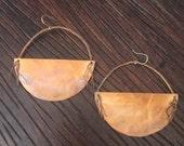 Handmade copper disk earrings