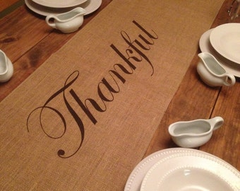 """Thanksgiving table runner Burlap Table Runner 12"""", 14"""" or 15"""" wide with Thankful in the center - long lengths Holiday decorating Home"""