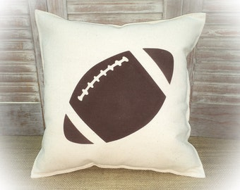Decorative Pillow with a Football silhouette. COMPLETE pillow. Sports decor