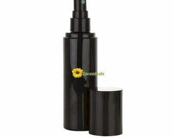 3 Ounce Black Plastic Bottle with Black Sprayer and Cap - 2 Pack