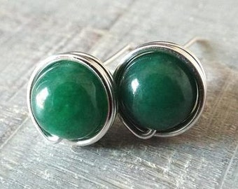 Green Aventurine Earrings, Dark Green Earrings, Green Stone Earrings, Emerald Green Studs, Silver Aventurine Studs, Green Stud Earrings