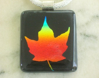 Maple Leaf Dichroic Fused Glass Focal Pendant on silver Plated Chain