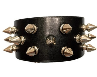 Spike bracelet, black bracelet cuff wristband with silver spikes, studded spiked bracelet arm band cuff.