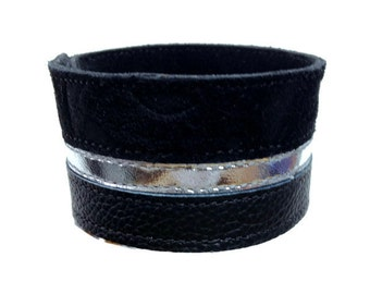 Genuine leather bracelet cuff wristband, women's black and silver striped leather arm band.