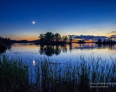 Night Photography, Lake in Northern Wisconsin, Fine Art Print, Reflections, Peaceful Summer Evening, Moon, Clouds, Blue, Healing Nature Art