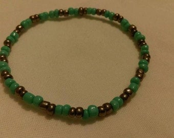 Turquoise & Black Glass Stretch Bracelet
