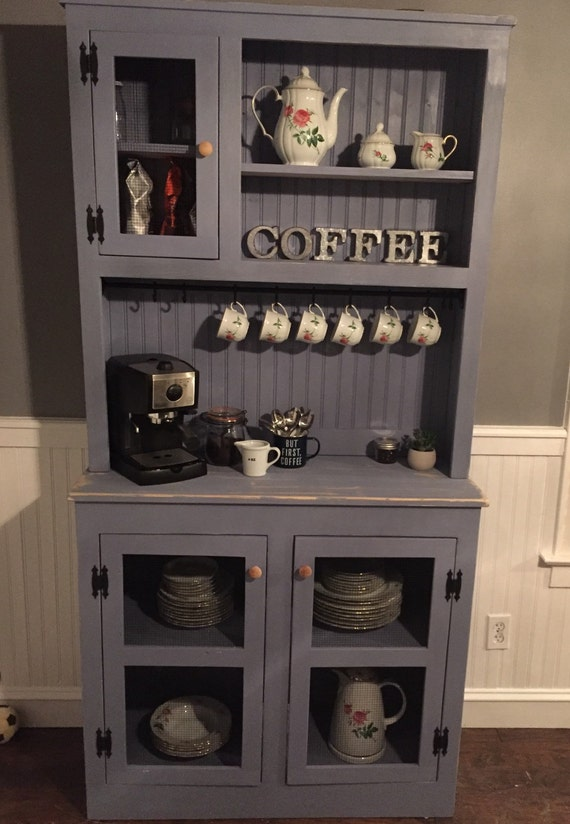 Finley blue stepback farmhouse hutch free shipping for Kitchen coffee bar cabinets