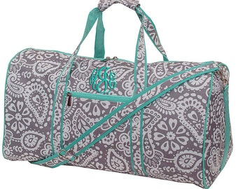 Monogrammed 21 inch Parker Paisley Duffle Bag Womens | Girls | Personalized | Weekender | Dance | Cheerleader | Travel | Overnight Duffel