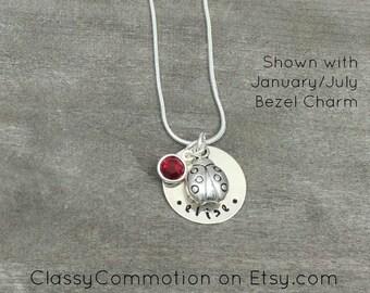 Ladybug Necklace with Charm - Hand Stamped Jewelry - Tween Girl