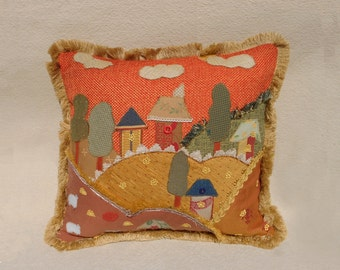 Unique patchwork pillow - handmade one of a kind