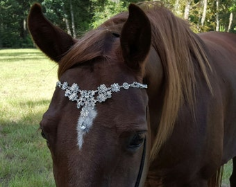 Faux Diamond Browband for Pony, Horse or Draft - Equine Bling Tack Brow Band Jewelry -  Horse Lover Gift