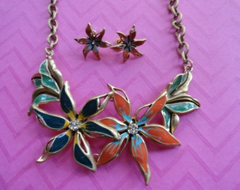 Flower colorful statement necklace and earring set