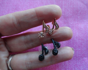 Rose gold, gold  or black crystal music note stud earrings