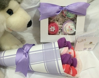 Baby shower gift bouquet wash cloths and a cupcake box with 4 one piece bodysuit 4 wash cloths, ribbons three month size new Mom lavender