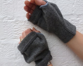 Grey Mens gloves large fingerless mittens lambswool texters handwarmers winter gloves handmade mittens XL mens gift gloves gray wool mitts.