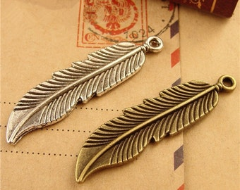 50 Feather Charms, 45x11mm Brass / Silver Tone Feather Pendants A1781