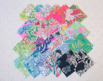 Preppy Colorful Lilly Pulitzer Fabric Quilt Squares 5x5 48pcs