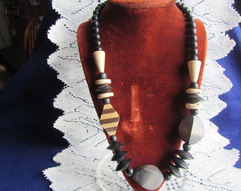 vintage NECKLACE with various shaped wood beads**   Jewelry