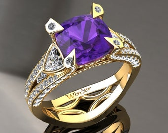 Amethyst Engagement Ring Amethyst Ring 14k or 18k Yellow Gold Matching Wedding Band Available W31PUY