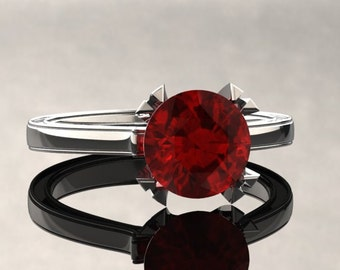 Ruby Engagement Ring Ruby Ring 14k or 18k White Gold Matching Wedding Band Available W17RUBYW