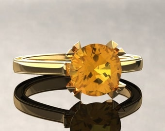 Yellow Sapphire Engagement Ring Yellow Sapphire Ring 14k or 18k Yellow Gold Matching Wedding Band Available W17YSY