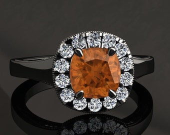 Citrine Halo Engagement Ring Cushion Cut Citrine Ring 14k or 18k Black Gold Matching Wedding Band Available SW20CITRBK