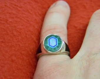 Sterling Silver 925 Gorgeous Green Stone With Inlay Opel Ring. Size 6.25 ET 6124