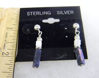 Sterling Silver 925 White and Black Dangling Earrings #7013