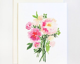 Dahlias Bouquet - A2 Greeting Card