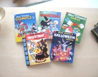 dollhouse miniature halloween comics x 5 vintage style bugs donald