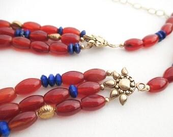 SALE - Carnelian & Lapis 3 Strand Necklace